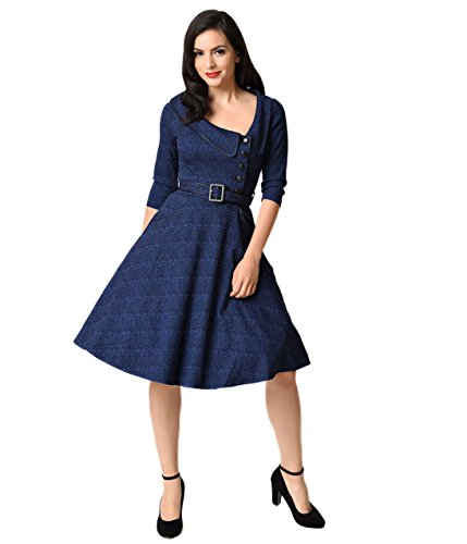 Voodoo Vixen Navy Blue & Black Glen Check Quarter Sleeve