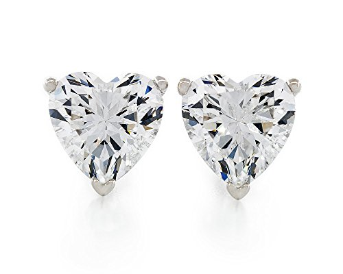 Acacia Jewelry 2.50 Carat (ctw) Heart Shape Fancy Diamond Cut Crystal White 7x7mm Crystal CZ 925 Sterling Silver Heavy Mounting Stud Earrings Rhodium Plated