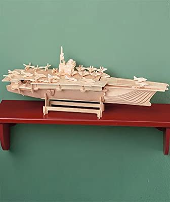 Sun Mate Wood Model Kits with Paints - Aircraft Carrier