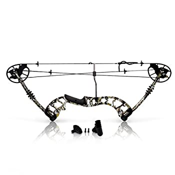 "Image of Composite Style Camouflage Compound Bow - 320 FPS Hunting Archery Gear W/Peep Sight, Fiberglass Limb, Metal Riser 30-70 lbs Adjustable Draw Weight, 23.5""-30.5"" Length, 4 String Silencers - SLCOMB12 Compound Bows"