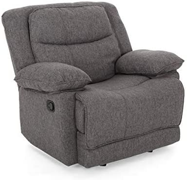 Christopher Knight Home Annabelle Glider Recliner, Charcoal Tweed, Black