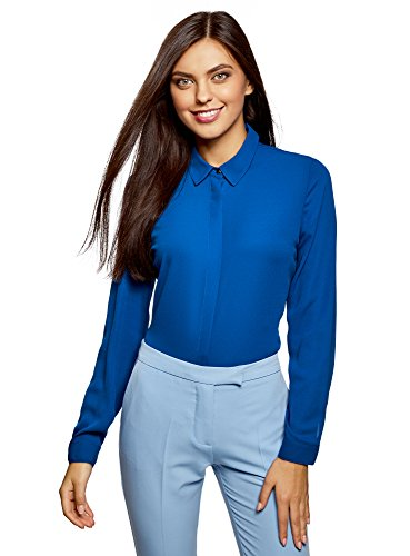 Ultra en oodji Bleu 7500n Tissu Blouse Fluide Femme HZwwzq