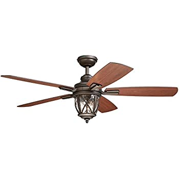 Allen Roth Stonecroft 52 In Rust Indoor Outdoor Downrod Or Close Mount Ceiling Fan With Light