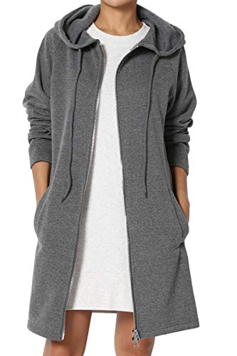 TheMogan Women's Hoodie Oversized Zip Up Long Fleece Sweat Jacket Grey 3XL