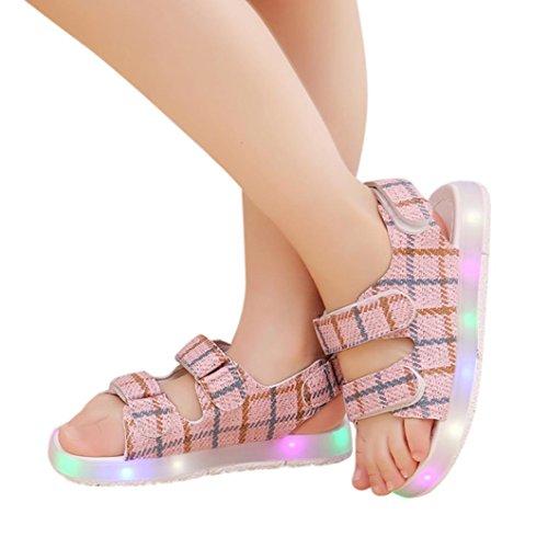 Cheap Baby Sandals,Enjocho Kids Boys Girls Sport Running Shoes LED Luminous Sneakers (US:6.5, Pink)