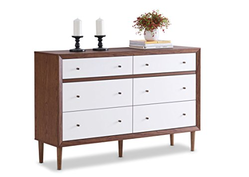 Baxton Furniture Studios Harlow Mid-Century Wood 6 Drawer Storage Dresser, Medium, White and Walnut