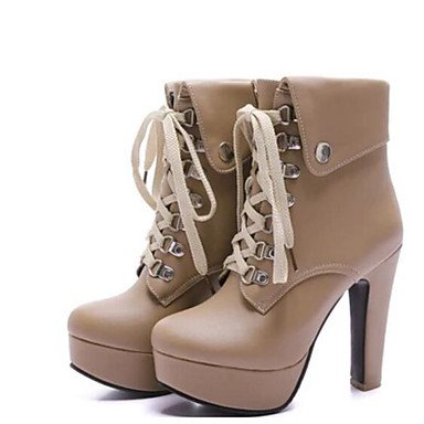 almond Botas Heart Negro Confort Con Para Almendra Otoño Blanco Casual amp;M Zapatos Mujer PU rwqxnYpOSw