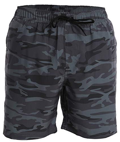 (Men's Swim Trunks and Workout Shorts - XL - Gray Blue Camo - Perfect Swimsuit or Athletic Shorts for The Beach, Lifting, Running, Surfing, Gym. Boardshorts, Swimwear/Swim Suit for Adults, Boys)
