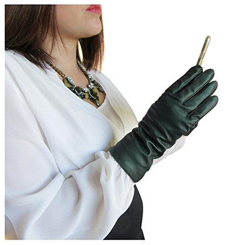 運命的な不愉快所有者FOWNES女性のカシミヤ並ぶラムスキン革手袋