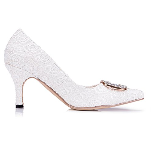 Prom Slip Party Shoes New Wedding Evening Fashion Women's Pumps White ZMS1518 Lace Kevin on Bridal TPxCH4