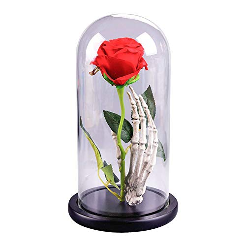 (Yinrunx Beauty and The Beast Eternal Flower Red Rose Skeleton Hand in a Glass Dome with A Wooden Base for Valentine's Gifts Wedding Anniversary Birthday)