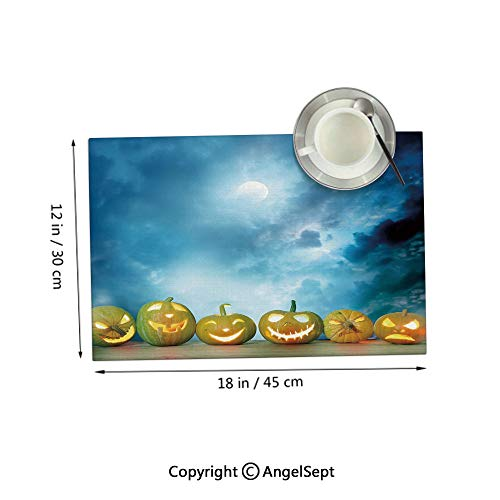 Homenon Placemats Heat Resistant Non-Slip,Spooky Halloween Pumpkins on Wood Table Dramatic Night Sky Dark Blue Light Blue Yellow 12x18inches,Placemats for Dining Table,Sets 6
