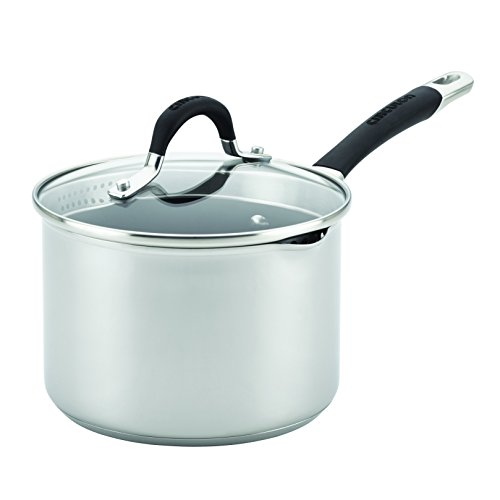 Circulon 78016 3 quart Momentum Nonstick Covered Straining Saucepan with Pour Spout, Medium, Stainless Steel