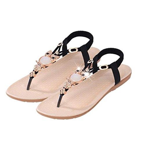 Sannysis Damen Sandalen,Rhinestone -Eulen Süße Klippzehe Strand-Schuhe Schwarz