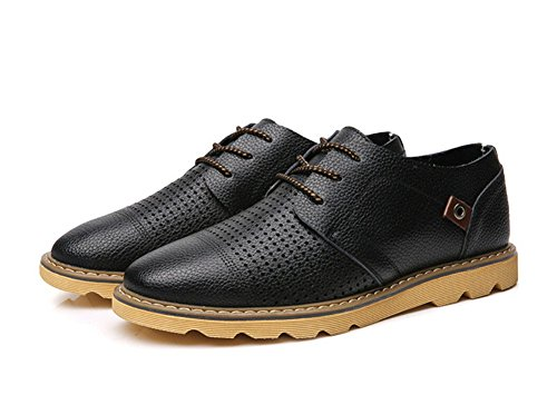 Tentoes Men Lace Up Mocassini Vestito Scarpe Casual In Pelle Nere (hollow Traspirante)