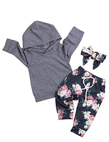 2PCS Baby Girls Clothes Long Sleeve Hoodie Floral Pants with Headband Outfit Sets (12-18months) Gray]()