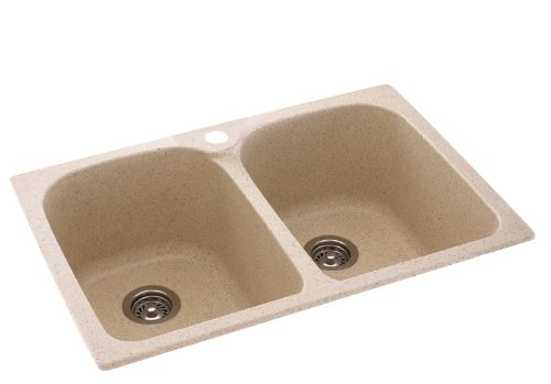 Swanstone KS02233LB.010 Solid Surface 1-Hole Drop in Double-Bowl Kitchen Sink, 33-in L X 22-in H X 10-in H, White