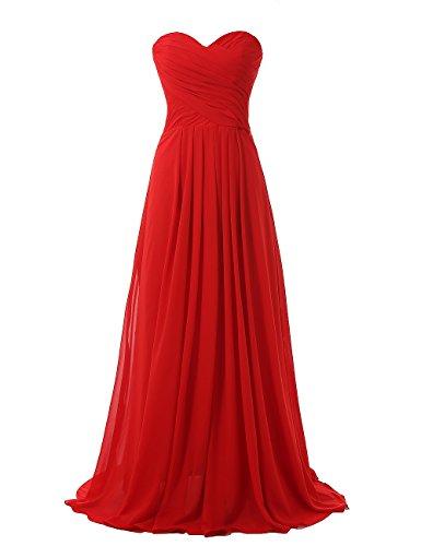 Kiss Dress Strapless Long Bridesmaid Dresses Chiffon Sweetheart Evening Gowns (L, - Corset Sweetheart Dress Wedding