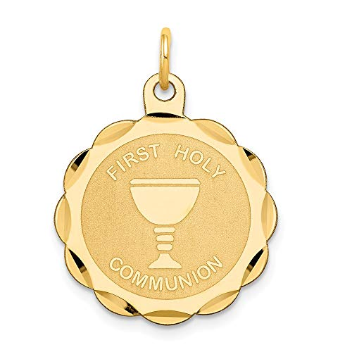 (Jewel Tie 14K Yellow Gold First Holy Communion Disc Charm - (1.02 in x 0.79 in))