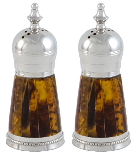 Salt & Pepper Shakers w/ Faux Tortoise Shell Resin Sides - 4.5