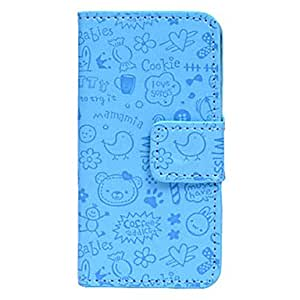 JJECartoon Little Evil Girl Pattern PU Leather Case with Stand for iPhone 5/5Solors) , Blue