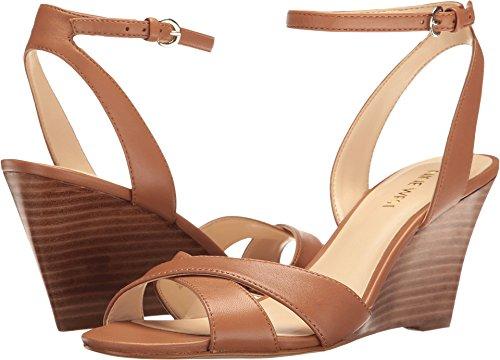(Nine West Women's Kami Leather Wedge Sandal, Dark Natural, 10 M US)
