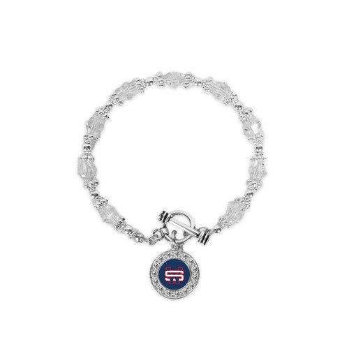 Southwest Crystal Jewel Toggle Bracelet with Round Pendant 'SW'
