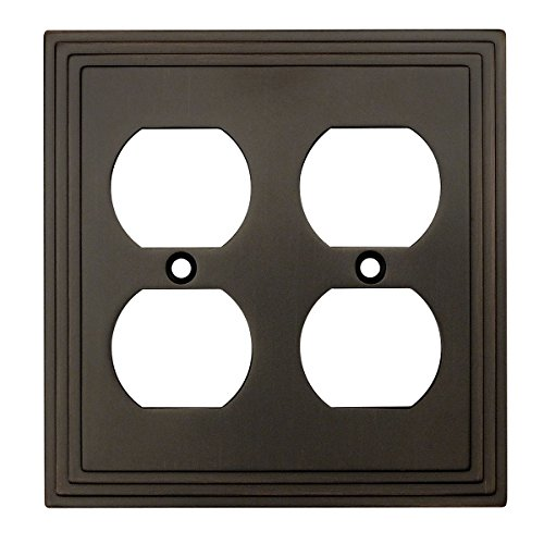 Cabinet Outlet Bronze - Cosmas 25012-ORB Oil Rubbed Bronze Double Duplex Electrical Outlet Wall Plate