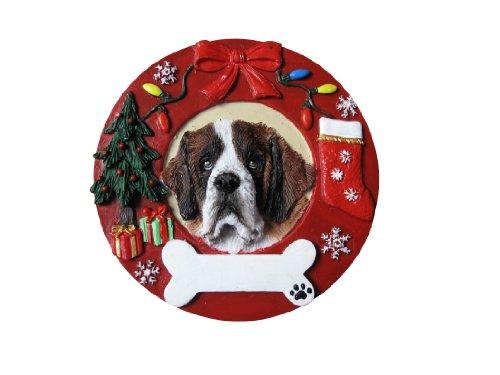 Saint Bernard Christmas Ornament Wreath Shaped Easily Personalized Holiday Decoration Unique Saint Bernard Lover Gifts