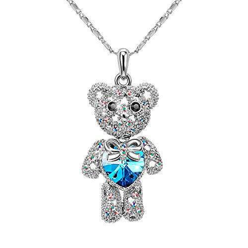 T400 Blue Teddy Bear Made with Swarovski Elements Crystal Pendant Necklace ♥ Graduation Gifts for Her Girls...
