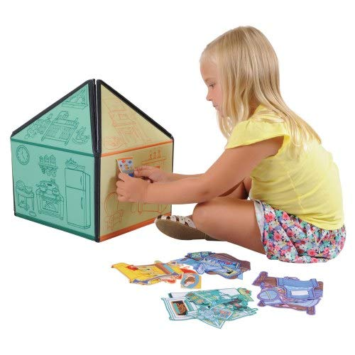 My Little House Interactive 3D Felt Playhouse for Early Language and Vocabulary Development, 8 Colorful Rooms with 36 Matching Felt Pieces