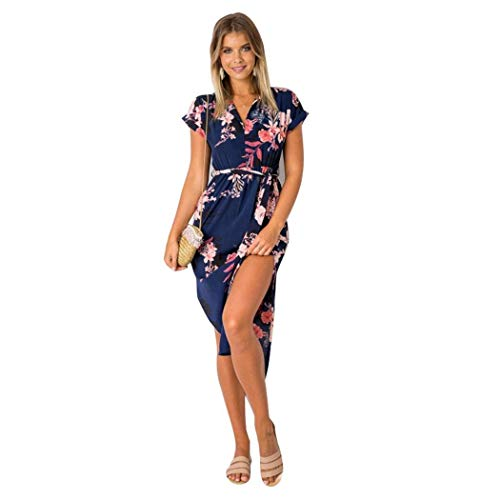 Kindes Women Ladies Summer Casual Short Sleeve VNeck Floral Print Slim Dress Sundresses