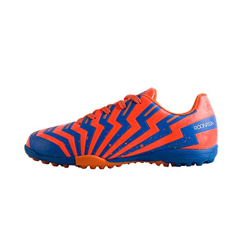 ROONASN Kids' Outdoor/Indoor Soccer Shoes Football Training Cleat Shoes (2 D(M) US, Orange/Blue)