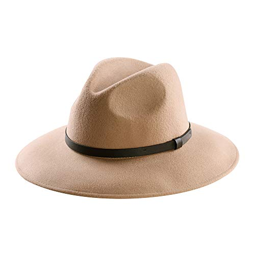 (Wool Felt Hat,Wide Brim Fedora Hats Men Women Trilby Outback Cowboy Panama Caps with Vintage Leather Band (M:7 1/8-22 1/4inch,Camel))