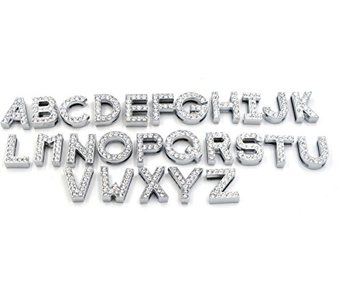Yeahfits 26pcs A-Z Swarovski Crystal Rhinestone Diamante Letters for Belt Webbing Dog Cat Pet Collar Personalized Name (18mm, Clear)]()