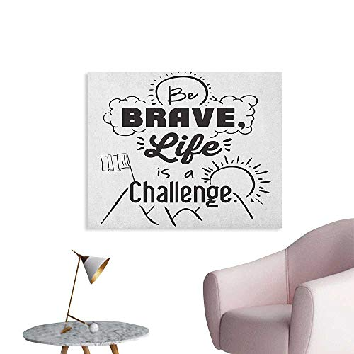 Anzhutwelve Quotes Wallpaper Be Brave Life is a Challenge Enduring Incentive Mountain Peak Sunrise Flag Art Wall Poster Black White W32 xL24