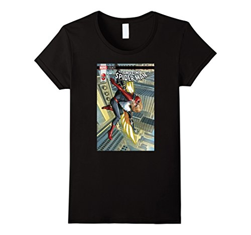 Womens Marvel The Amazing Spider-Man Web Kisser Comic Cover T-Shirt XL Black