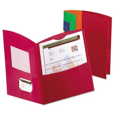 Esselte Contour Two Pocket Folder - Letter - 8.50quot; Width x 11quot; Length Sheet Size - 100 Sheet Capacity - 2 Pockets - Embossed Paper - Assorted - 25 / Box - Contour Two Pocket Folder Letter