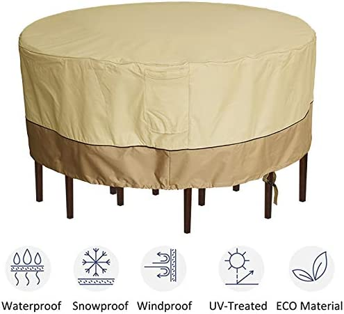 kdgarden Outdoor Round Patio Table and 6 Chairs Set Cover, Heavy Duty Waterproof 600D Large Furniture Set Cover for All Weather Protection, 94 Dia x 30 H, Beige Brown