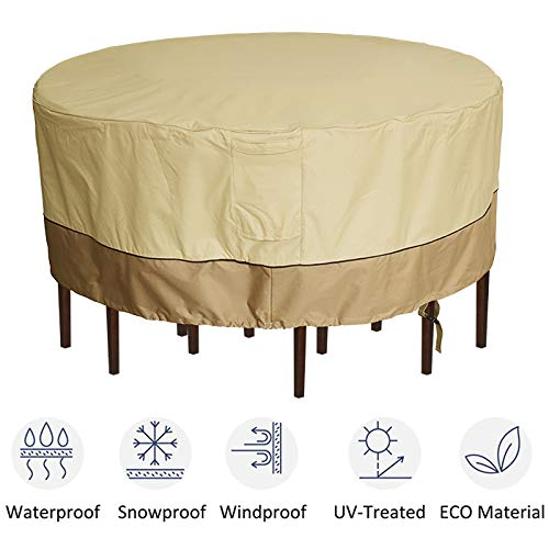 """kdgarden Outdoor Round Patio Table and 6 Chairs Set Cover, Heavy Duty Waterproof 600D Large Furniture Set Cover for All Weather Protection, 84"""" Dia x 30"""" H, Beige Brown"""