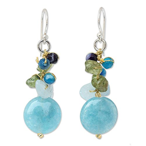 NOVICA Multigem Cluster Earrings with Quartz and .925 Sterling Silver Hooks, 'Thai Joy' (Silver Thai Earrings Hook)