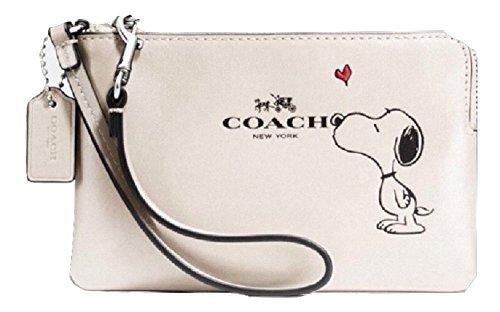 coach wristlet outlet store online d125  Coach X Peanuts Snoopy Corner Zip Wristlet Calf Leather Chalk F65193:  Handbags: Amazoncom