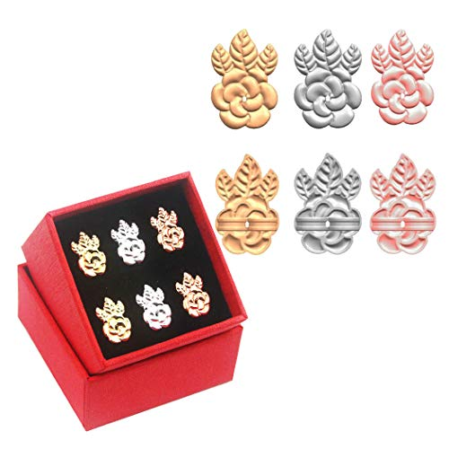 YAVIS [Update] Earring Lifters, 3 Pairs of Adjustable Hypoallergenic Earring Backs Lifts Support for Women Ear Lobe Support Patches (Gold Plated, Silver Plated, Rose Gold - Flower Style)