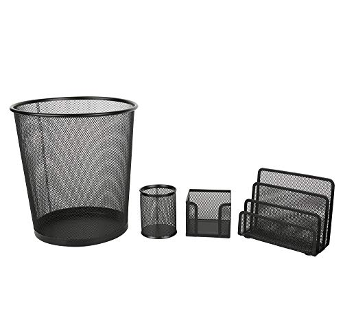 Exerz Deluxe Mesh Office Set 4 Pcs – Include Mesh Bin, Letter Shelf/Holder/Rack, Memo Holder, Pen Holder/Pot. Sleek and Anti-Scratch Design, Suitable for Office, Home Office, School, Study - Black by Exerz