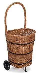 Wicker Trolley Log Shopping Basket