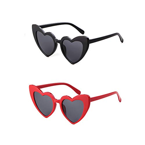 [2 Pack] Heart Sunglasses Clout Goggle Retro Vintage Cat Eye Mod Style for Women Kurt Cobain Glasses Plastic Frame Mirrored Lens (Black+Red, 53)]()