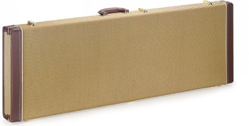 Stagg GCX-RE Tweed Rectangle Shaped Deluxe Hard Case for Electric Guitar - Gold (Case Stratocaster Deluxe)