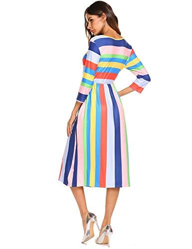 Sleeve Stripe 3 Colorfull Elastic with Dress Women's Halife Waist 4 Casual Pocket q61ttT