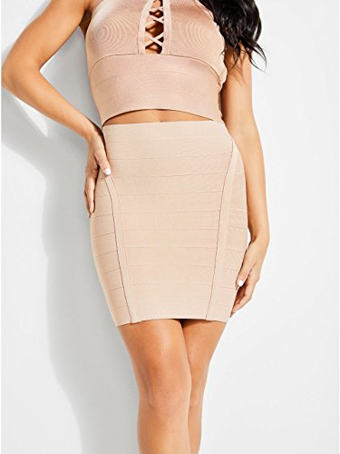 GUESS Women's Ottoman Stitch Mirage Skirt, Rugby Tan, S