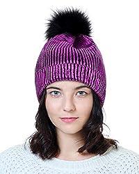 Purple-A Sequin Beanie Hat with Faux Fur